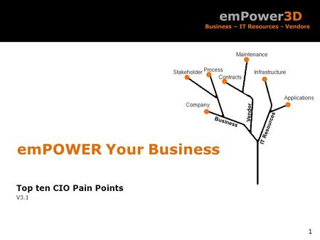 Business Vendor IT Resources Company Stakeholder Process Contracts Maintenance Applications Infrastructure Top ten CIO Pain Points V3.1 1 emPOWER Your.