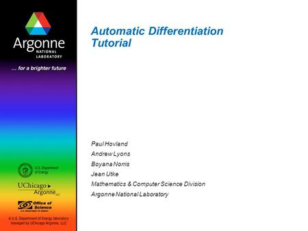 Automatic Differentiation Tutorial