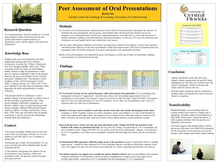 Peer Assessment of Oral Presentations Kevin Yee Faculty Center for Teaching & Learning, University of Central Florida Research Question For oral presentations,