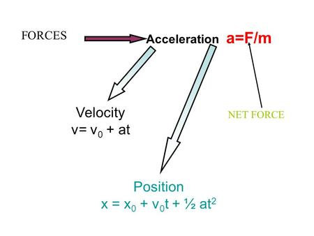 Acceleration a=F/m Velocity v= v 0 + at Position x = x 0 + v 0 t + ½ at 2 FORCES NET FORCE.