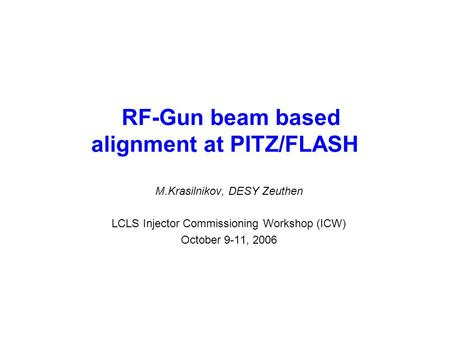 RF-Gun beam based alignment at PITZ/FLASH