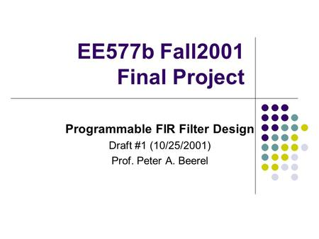 Programmable FIR Filter Design
