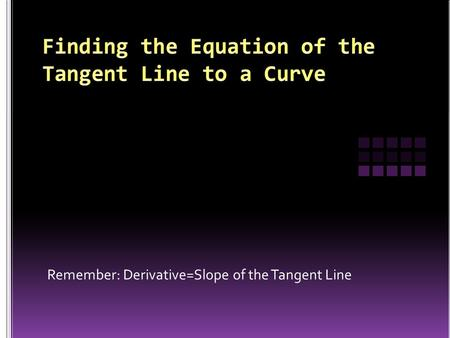 Remember: Derivative=Slope of the Tangent Line.