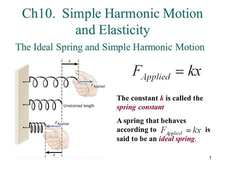 Ch10. Simple Harmonic Motion and Elasticity