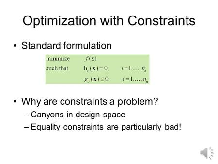 Optimization with Constraints