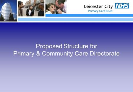 Proposed Structure for Primary & Community Care Directorate.