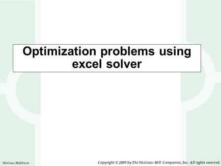 Optimization problems using excel solver