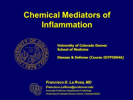 Chemical Mediators of Inflammation Francisco G. La Rosa, MD Associate Professor, Department of Pathology University of Colorado.