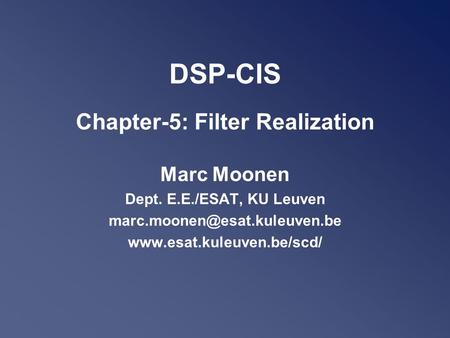 DSP-CIS Chapter-5: Filter Realization