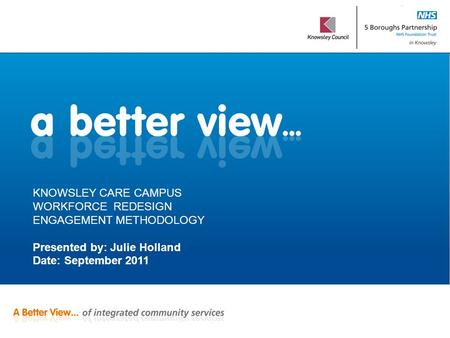 KNOWSLEY CARE CAMPUS WORKFORCE REDESIGN ENGAGEMENT METHODOLOGY Presented by: Julie Holland Date: September 2011.