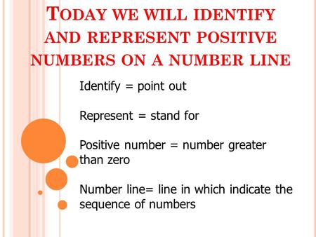 T ODAY WE WILL IDENTIFY AND REPRESENT POSITIVE NUMBERS ON A NUMBER LINE Identify = point out Represent = stand for Positive number = number greater than.