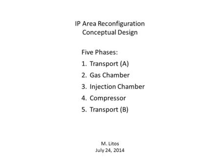 IP Area Reconfiguration Conceptual Design Five Phases: 1.Transport (A) 2.Gas Chamber 3.Injection Chamber 4.Compressor 5.Transport (B) M. Litos July 24,