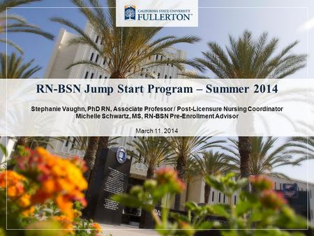 RN-BSN Jump Start Program – Summer 2014 Stephanie Vaughn, PhD RN, Associate Professor / Post-Licensure Nursing Coordinator Michelle Schwartz, MS, RN-BSN.
