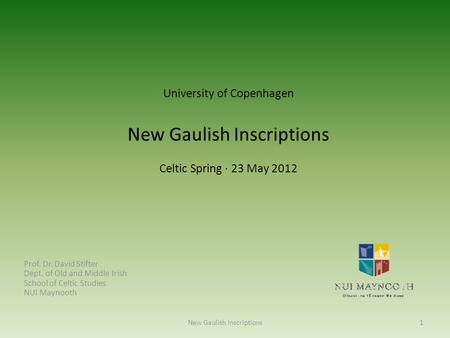 New Gaulish Inscriptions