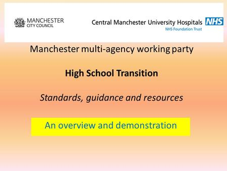 An overview and demonstration Manchester multi-agency working party High School Transition Standards, guidance and resources.