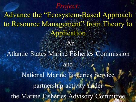 An Atlantic States Marine Fisheries Commission and National Marine Fisheries Service partnership activity under the Marine Fisheries Advisory Committee.