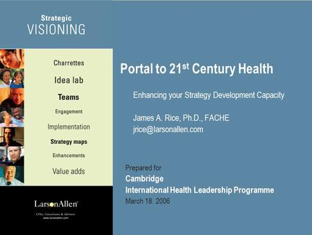©2005 Larson, Allen, Weishair & Co., LLP 1 Portal to 21 st Century Health Enhancing your Strategy Development Capacity James A. Rice, Ph.D., FACHE