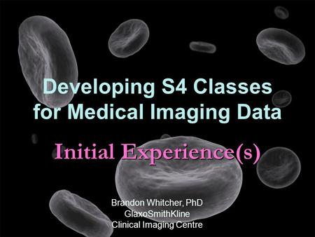 Initial Experience(s) Developing S4 Classes for Medical Imaging Data Brandon Whitcher, PhD GlaxoSmithKline Clinical Imaging Centre.