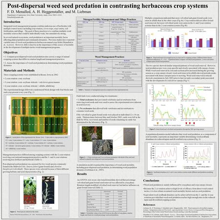 Post-dispersal weed seed predation in contrasting herbaceous crop systems F. D. Menalled, A. H. Heggenstaller, and M. Liebman Department of Agronomy, Iowa.