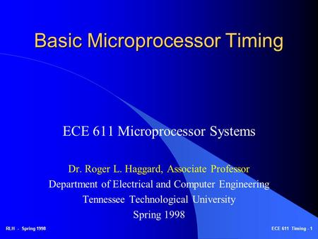 Basic Microprocessor Timing