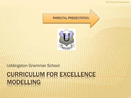 Uddingston Grammar School CfE Parental Presentation PARENTAL PRESENTATION.