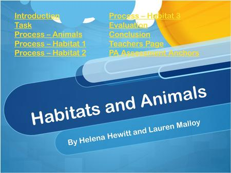 Habitats and Animals By Helena Hewitt and Lauren Malloy Introduction Task Process – Animals Process – Habitat 1 Process – Habitat 2 Process – Habitat 3.