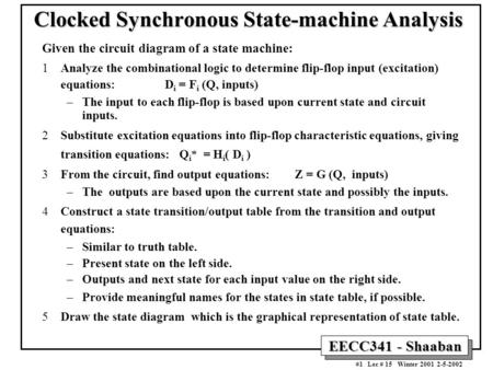 Clocked Synchronous State-machine Analysis