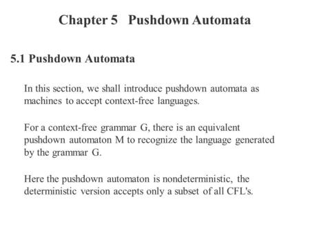 Chapter 5 Pushdown Automata