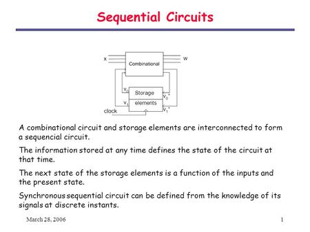 Sequential Circuits Storage elements