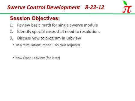 Swerve Control Development 8-22-12 Session Objectives: 1.Review basic math for single swerve module 2.Identify special cases that need to resolution. 3.Discuss.