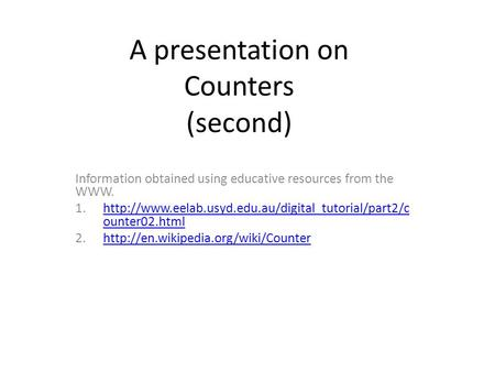 A presentation on Counters (second)