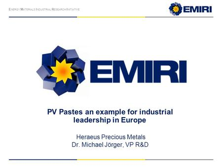 PV Pastes an example for industrial leadership in Europe