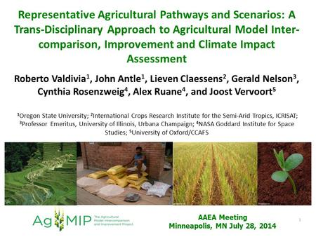 Representative Agricultural Pathways and Scenarios: A Trans-Disciplinary Approach to Agricultural Model Inter- comparison, Improvement and Climate Impact.