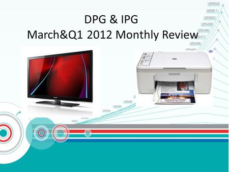 DPG & IPG March&Q1 2012 Monthly Review. AGENDA: HI-LIGHT IN Q1' 2012 SALES PERFORMANCE IN MARCH, Q1 2012 Sale performance by brand, cscode CHANNEL SALES.