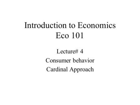 Introduction to Economics Eco 101