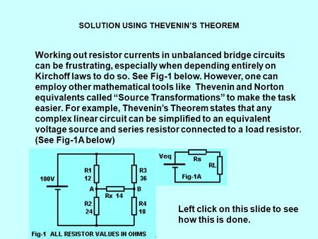 SOLUTION USING THEVENIN'S THEOREM