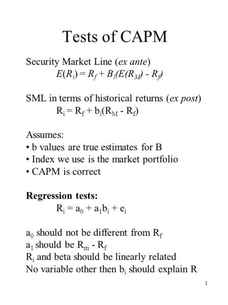 Tests of CAPM Security Market Line (ex ante)
