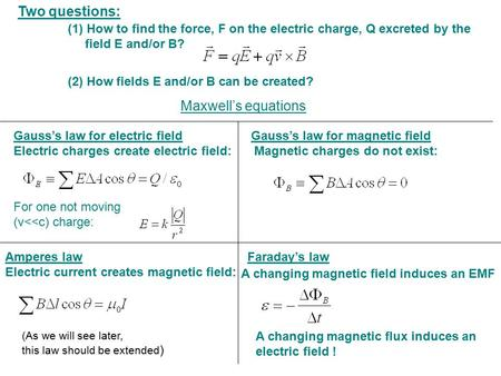 Two questions: (1) How to find the force, F on the electric charge, Q excreted by the 	 field E and/or B? (2) How fields E and/or B can be created?