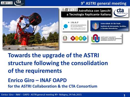 Enrico Giro – INAF – OAPD - ASTRI general meeting #9– Bologna, 24 Feb.2015 11 Towards the upgrade of the ASTRI structure following the consolidation of.