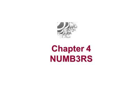 Chapter 4 NUMB3RS.