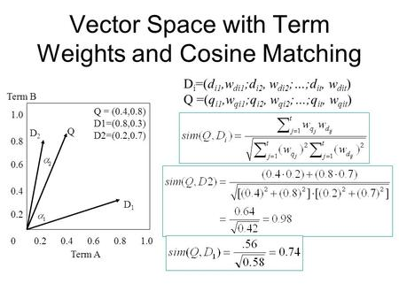 Vector Space with Term Weights and Cosine Matching 1.0 0.8 0.6 0.4 0.2 0.80.60.40.201.0 D2D2 D1D1 Q Term B Term A D i =(d i1,w di1 ;d i2, w di2 ;…;d it,