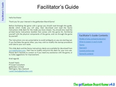 Facilitator's Guide Facilitator's Guide Facilitator's Guide Contents