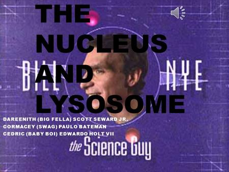THE NUCLEUS AND LYSOSOME DAREENITH (BIG FELLA) SCOTT SEWARD JR. CORMACEY (SWAG) PAULO BATEMAN CEDRIC (BABY BOI) EDWARDO HOLT VII.