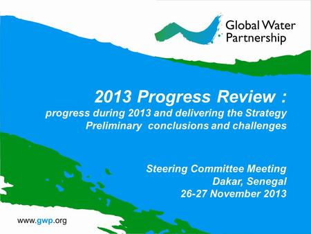 2013 Progress Review : progress during 2013 and delivering the Strategy Preliminary conclusions and challenges Steering Committee Meeting Dakar, Senegal.