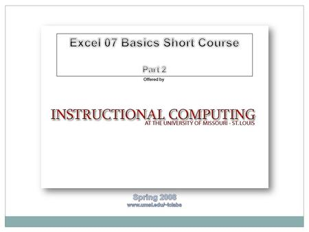 DATABASE BASICS: INSERTING AND FORMATTING DATA EXCEL 07 SESSION II.