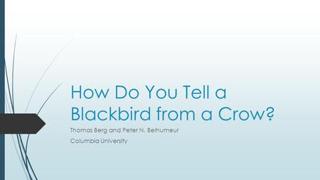 How Do You Tell a Blackbird from a Crow? Thomas Berg and Peter N. Belhumeur Columbia University.