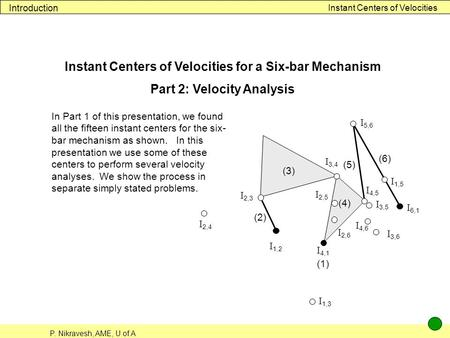 P. Nikravesh, AME, U of A Instant Centers of Velocities Introduction Instant Centers of Velocities for a Six-bar Mechanism Part 2: Velocity Analysis In.