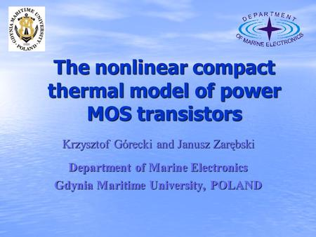 The nonlinear compact thermal model of power MOS transistors