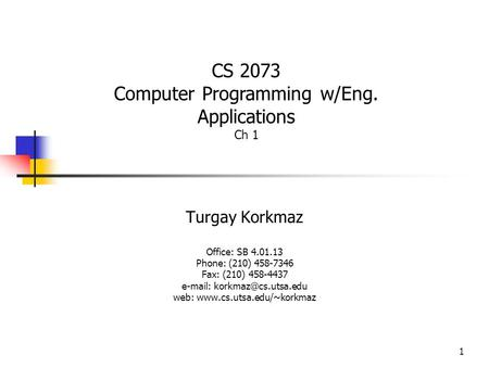 Computer Programming w/Eng. Applications