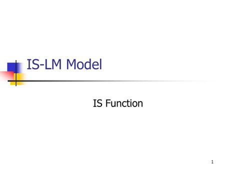 1 IS-LM Model IS Function 2 Outline Introduction Assumptions Investment Function I= f(r) Deriving the IS Function: Income- Expenditure Approach (Y =
